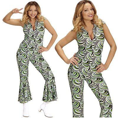 70er Disco Girl Overall mit Schlag 42/44 -L- Damen Kostüm Hippie Jumpsuit  #8923 (70er Disco Girl Kostüm)