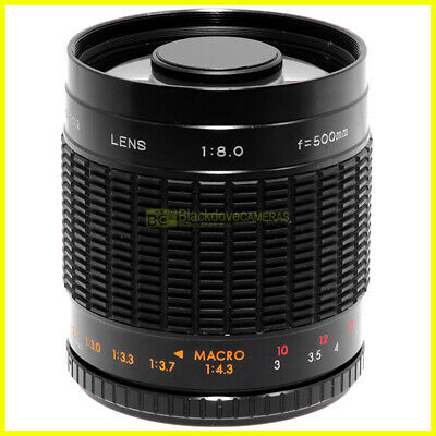 Quantaray teleobiettivo 500mm f8 MC mirror innesto T2 per Nikon Canon Pentax ecc
