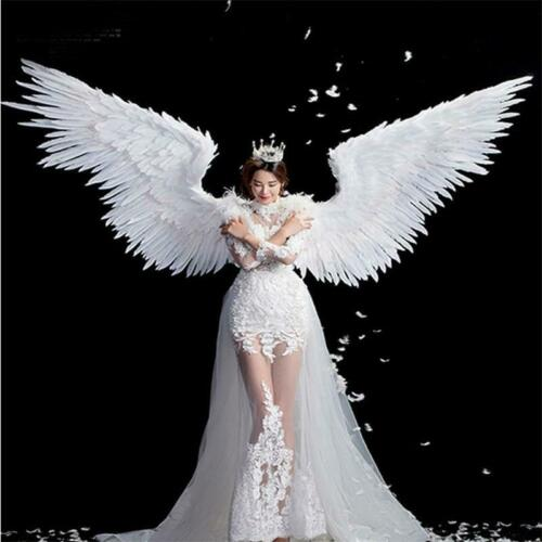 Feathered Wings White Angel Halloween Catwalk Model Large Cosplay Party
