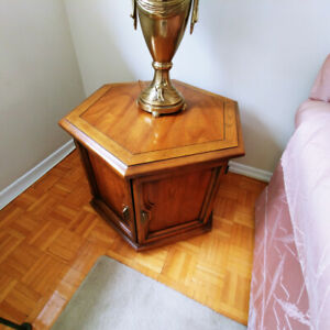 Wood End Tables & Brass Style Lamps