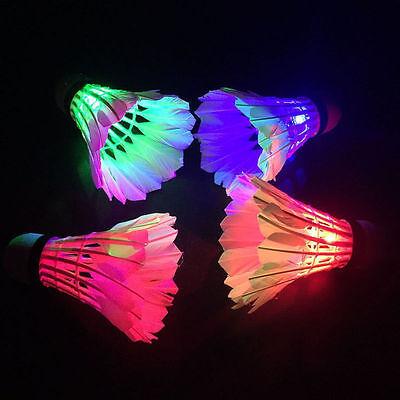 4Pcs Dark Night Colorful Glowing LED Badminton Shuttlecock Birdies Lighting RF