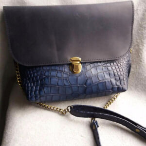 New, women's blue leather bag