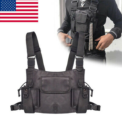 Tactical Walkie Talkie Waistcoat Vest Radio Hip Hop Harness Chest Rig Bag Pouch