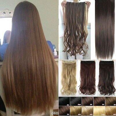 Extra Lang Dick Haar clip in Hair Extensions Galtt Braun Haarverdichtung Perücke (Perücke Hair Extensions)