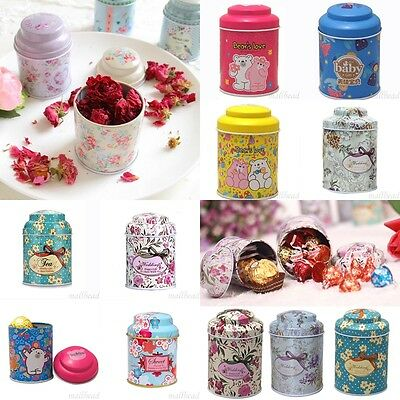 Cute Retro Multicolor Flower Home Candy Coffee Tea Can Container Jar Tin Metal - Cute Jars