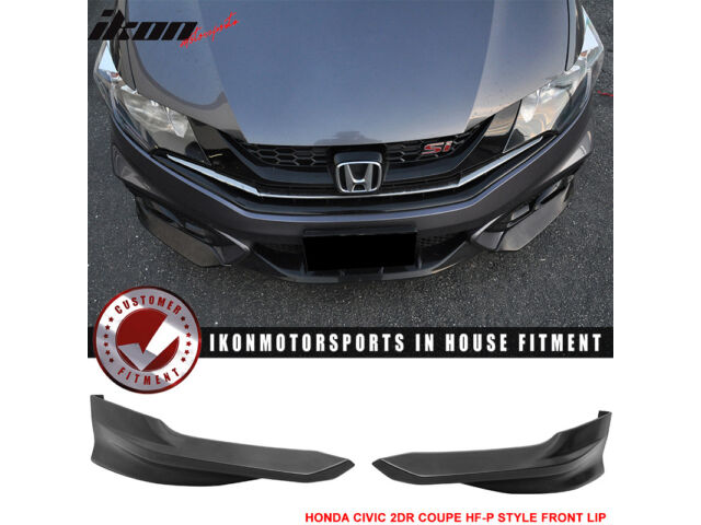 Fits 14-15 Civic 2DR Coupe HF-P Front Bumper Lip + Side Skirts - PU