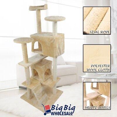 52'' Cat Tree Tower Condo Play House Pet Scratcher Post Kitten Furniture Beige