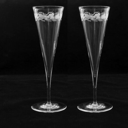 Champagne Glass Flutes, Pair Early Victorian Ca 1860