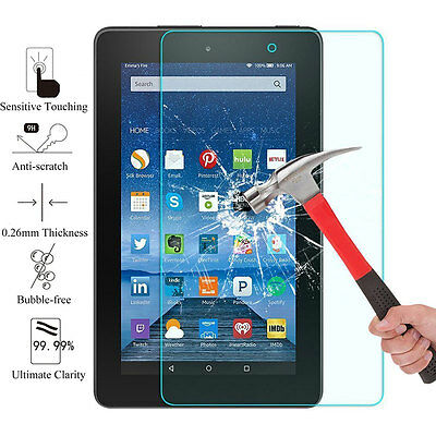 For 2017 Amazon Kindle Fire 7 Premium HD Clear Tempered Glass Screen Protector