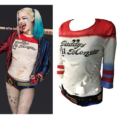 US Suicide Squad Harley Quinn T-shirt Daddy'S Lil Monster Cos Tops