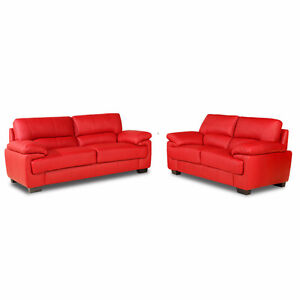 Red Leather Two Seater Sofa Ebay