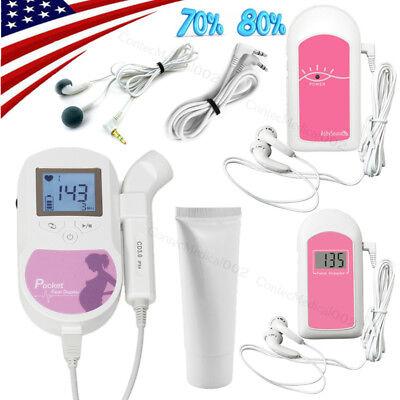 Us Seller3mhz Pocket Fetal Dopplerlcd Prenatal Heart Monitorbaby Monitorsgel