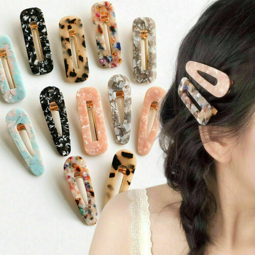 Women Vintage Leopard Resin Hair Snap Clip Tortoise Shell Slide Barrette Hairpin