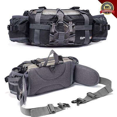 Outdoor Fanny Pack Hiking Camping Biking Waterproof Waist Pack 2 Water Bottle