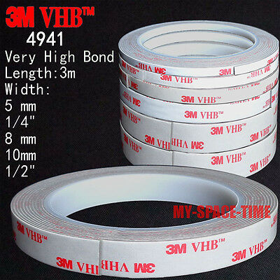 3M VHB #4941 Double-sided Acrylic Foam Adhesive Tape automotive 3 Meters Long (4941 Vhb Tape)