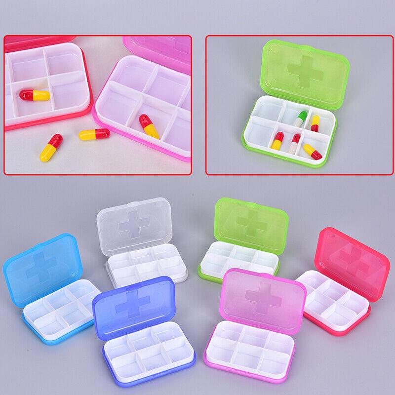 6 Slots Pill Box Portable Pill Cases Travel Dispen Storage C