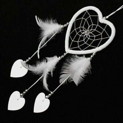 Nuevo Blanco Atrapasueños Con pluma Corazón pequeño colgar pared Decoración