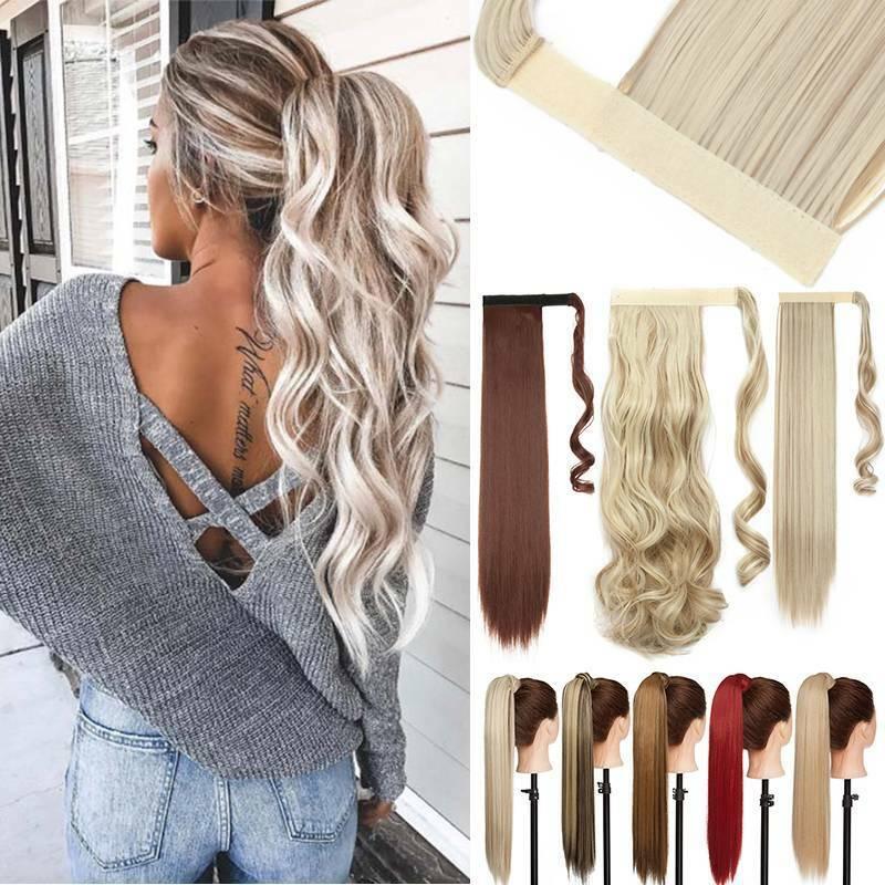 Blond Pferdeschwanz Zopf Haarverlängerung Haarteil Extensions Ponytail Kunsthaar