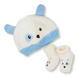 Baby Boys Puppy Knit Hat And Booties Set [new]