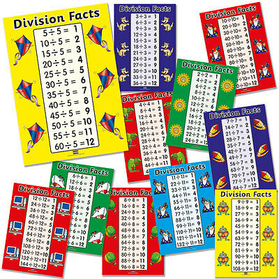 11 X Division Facts Maths Primary School Teaching Posters A4 For Classroom Decor
