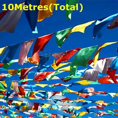 10 Metres long String of Silk Printed Tibetan Buddhist Prayer Flags religious