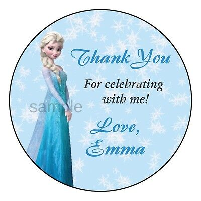 Frozen Elsa Birthday Party Favor Personalized THANK YOU Labels Stickers - Frozen Birthday Parties