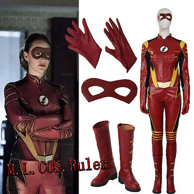 Latest The Flash Season Ⅲ Jesse Quick Cosplay Costume Shoes Full Suit - Quick Cosplay Costumes