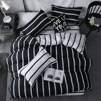 Black and White Striped Duvet Quilt Doona Cover Set Single Double Queen King