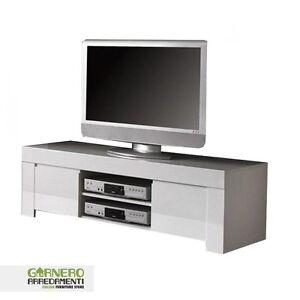 Mobile porta tv piccolo amalfi moderno bianco lucido sala for Mobile sala bianco