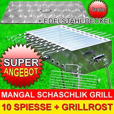 SCHASCHLIK GRILL MANGAL MEGA Edelstahl + DECKEL + 10 Spiesse Modell 2019