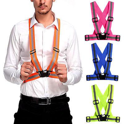 Adjustable Safety Security Reflective High Visibility Vest Gear Stripes Jacket