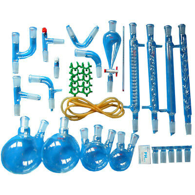 35 Pcs New Lab Essential Oil Steam Distillation Organic Apparatus Glassware Kits