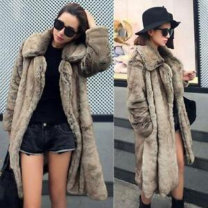 Womens Warm Outwear Long Parka Faux Fur Ladies Thicken Jacket ...