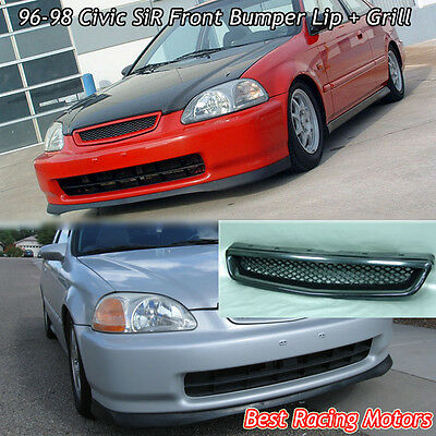 - SIR Style Front Bumper Lip + TR Style Grill (ABS) Fit 96-98 Civic 4dr
