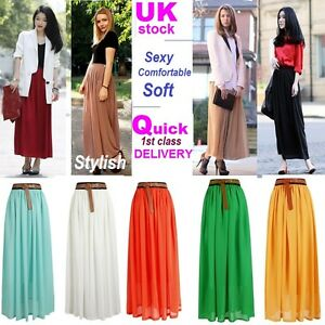WOMENS-LADIES-GIRL-CHIFFON-MAXI-LONG-SKIRT-ALL-COLOUR-SIZE-8-10-12-14-Stylish-L5