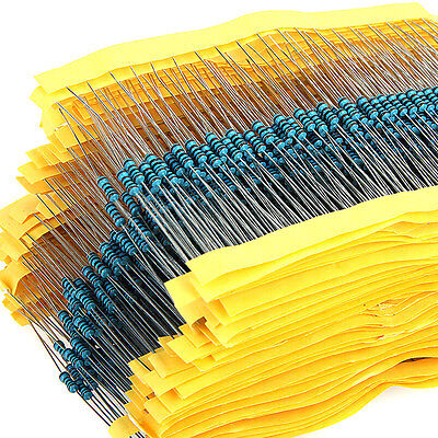 1280pcs 1 ohm - 10M ohm 64 Values 1/4W Metal Film Resistors Assortment Kit Set
