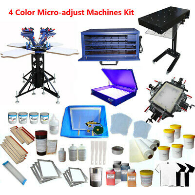 4 Color 4 Station Screen Printing Kit Silk Press Printer Flash Dryer Exposure