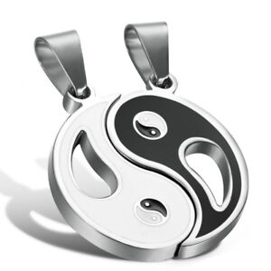 Brand New 2pcs Stainless Steel Yin Yang Pendant Necklace