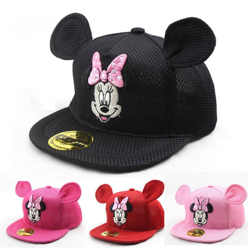 Baby Kinder Mädchen Sommer Minni Maus Mesh Snapback Baseball Cap Hat Mütze Kappe