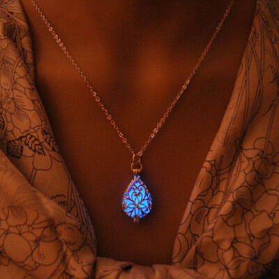 Glow In Dark Locket Silver Hollow Glowing Stone Luminous Choker Pendant Necklace](Silver Rock)