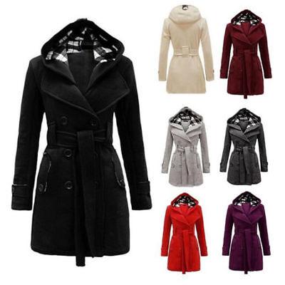 Hooded Women Warm Outwear Tops Trench Long Winter Wool Blends Coat Jacket - Purple Trench Coat