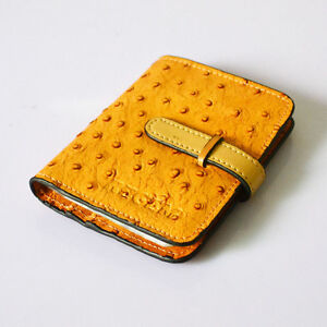 Womens Ostrich Leather Business Credit Card Holder Case Wallet