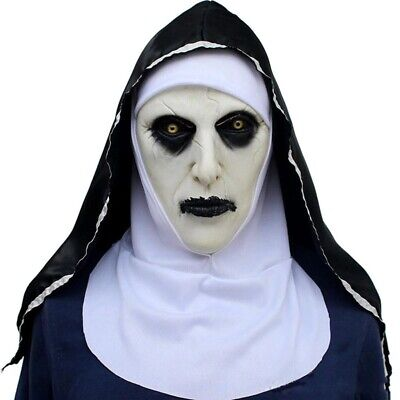 The Nun Horror Movie Face Mask Costume Valak Halloween Scary Face Latex Mask