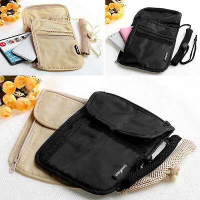 Secure Passport Neck Pouch Money Cord Clothes Wallet Organizer Holder Bag RS