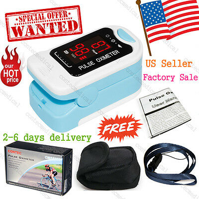 Spo2 Pr Finger Tip Pulse Oximeter Blood Oxygen Heart Rate Monitor Pouch Lanyard