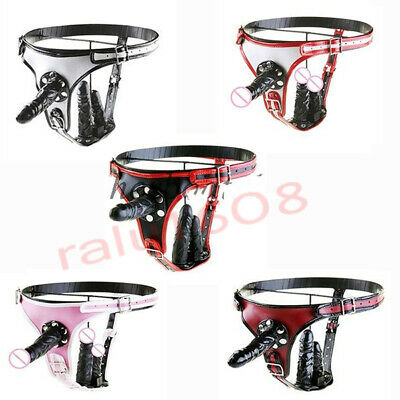 Triple Removale Stopper PU Leather Strap on Briefs Harness Chastity Belt Panties