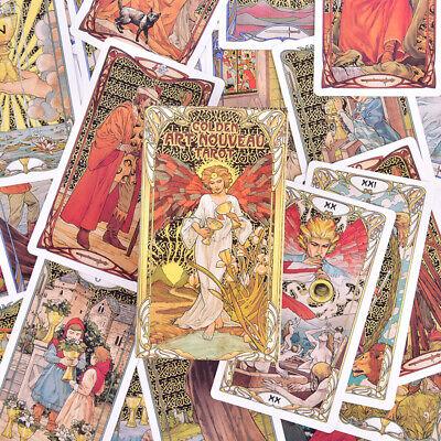 Golden Art Nouveau Tarot Deck 78 Cards for Beginners Classic Art Nouveau Styl GS