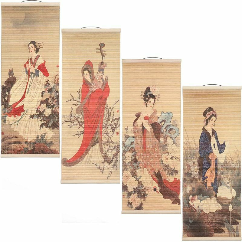 Chinese Scroll Wall Hanging Art (10 x 26 In, 4 Pack)
