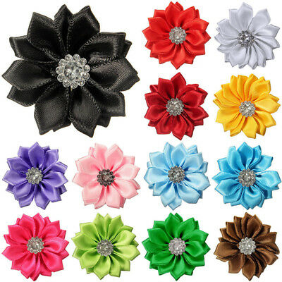 10-30X Satin Ribbon Flowers Bows crystal with Appliques Sewing DIY Craft Wedding - Diy Ribbon Flowers