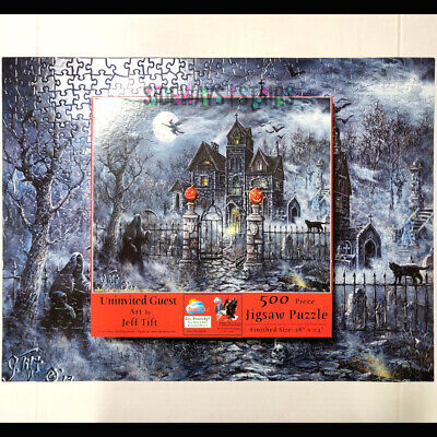 HAUNTED HOUSE JIGSAW PUZZLE uninvited guest 500 piece 18x24 reaper witch macabre